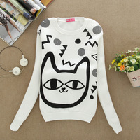 2014 women's new sport package of sweater pullover sweater women cotton hoodies fashion 4color cat flocking