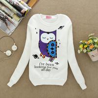 2014 new Add wool fashion women cotton hoodies women's round neck long-sleeved sweatshirt 4 color Cute owl printing