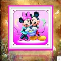 Free shipping 5D diamond Painting Diy kit Round diamond paste diamond draw Home Decoration Mickey couple Send supporting tools
