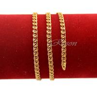 1pcs 4mm New Men Women Snail 18K Yellow Gold Filled 45cm Chain Necklace E222