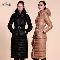 2014 Hot Thicken Warm Woman Down Jacket Plus Long Coats Outerwear Luxury Brand Parka Hooded Slim 3XXXL Black Free shipping