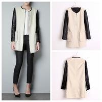 2014 cardigans dress woolen women coat winter new leather sleeve splicing imitation lamb wool double pocket coat factory direct