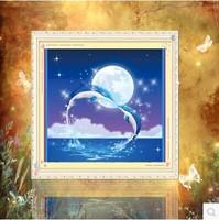 Free shipping 5D diamond Painting Diy kit Round diamond paste diamond draw Home Decoration Moonlight Dolphins