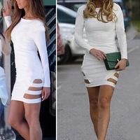 2014 Summer Sexy Knee-length Dress Bandage Dress Long sleeve Celebrity Backless Bodycon Dresses Pencil Dress
