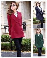 Free Shipping women's british double breasted turn down collar cashmere wool woolen suit blazer long coat overcoat abrigos S-XL