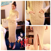 Vestido Hot Sale Cotton Dobby Bud Dresses 2014 New Korean Turtle Neck Long Sleeve Knit Thickened Hemp Flowers Sweater Dress