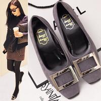 2014 HARAJUKU shoes metal buckle women's shoes thick heel fashion vintage pumps high-heeled shoes square heel pumps