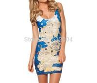 YWNN Lady's Vest One piece Dress O-Neck Hot Packet Hip Dress Vestidos 3D Digital Print Map Femal Bodycon Dress