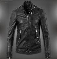2014 Winter New Men'S Leather Jacket Slim Short Skull Fashion Brand Of High Quality Washed Leather Motorcycle Jacket  XXXL P20
