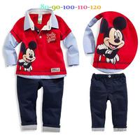 New Autumn boys long sleeve cartoon mickey red shirt + pants casual 2pcs set Children Splice sleeves clothing suit kids wear