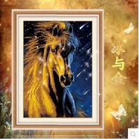 Free shipping 5D diamond Painting Diy kit Round diamond paste diamond draw Home Decoration Horse Ice and Gold