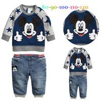 New Design Autumn boys long sleeve cartoon mickey shirt + jeans casual 2pcs set Children star sleeves clothing suit kids wear