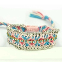 Fashion Braided Colours Cotton Rhinestone Hipanema Bracelet & Bangle Exclusive Handmade Woven Friendship Bracelet for Women Gift