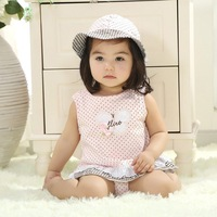 2014 amoi cotton T-shirt + shorts, children's clothing children hat leisure suit baby clothing set 1 to 2 years old girl