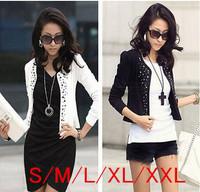 High Quality Black/White Spring Autumn 2014 Female Coat Women Short Jackets With Rivet for Lady's Blazer Cardigan Plus Size XXL