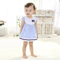 2014 new cotton children's clothing infant school style dress round collar 1 to 2 years old baby summer clothes Baby clothes