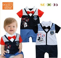 2014 New Arriving baby clothes boys clothes mickey clothes baby short sleeves romper baby romper summer wear 3pieces/lot