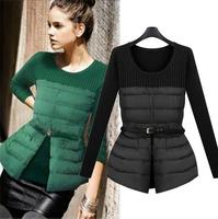 WWY22 2014 New Winter Coat Fashion Slim Down Stitching Cotton Sweater Down Jacket Women