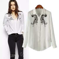 CS0397 spring and autumn fashion tiger animal print long sleeve lapel slim casual cotton blouse womenEuropean style