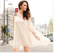 Summer 2014 women's new European and American trade of the original single epaulette irregular lace chiffon dress  NZ426