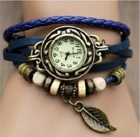New Arrival and High Quality Women Leather Vintage Quartz Dress Watch Bracelet Wristwatches leaf,Free Shipping