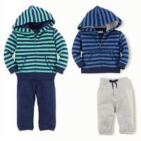 2015 New Autumn boys long sleeve POLO striped Sweater + pants casual sports 2pcs set Children clothing suit kids polo wear 5set