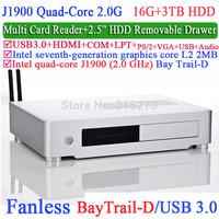 Htpc mini itx Desktop computer with Intel Quad-Core J1900 Bay Trail-D 2.0Ghz USB 3.0 COM LPT DirectX 11.0 16G RAM 3TB HDD