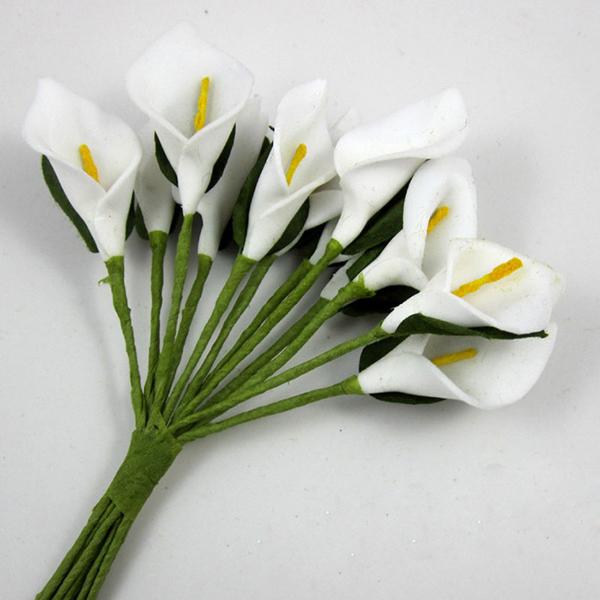 144pcs White Artificial Foam Mini Calla Lily Foam Flower Favor Box Craft Card Scrapbook(China (Mainland))