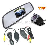 "4 LED IR Night Vision Backup Reverse Parking Camera 170 degree Wide Angle + 4.3"" LCD Mirror Monitor Car Rear View Kit"