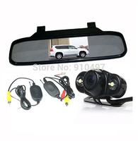 "Wireless Car Rear View Parking Kit Frog Reverse Backup Camera 2 IR LED + 4.3"" LCD Screen Mirror Monitor Display"