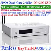 Mini HTPC with Intel Quad-Core J1900 Bay Trail-D 2.0Ghz USB 3.0 COM LPT DirectX 11.0 wake-up boot Plug and Play 2G RAM 24G SSD
