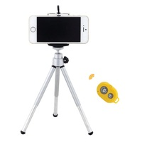 Wireless Bluetooth Remote Shutter with Mini 360 Rotatable Stand Tripod Mount and Cell Phone Clip Clamp for iPhone  for Samsung