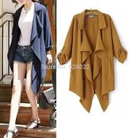 2014 New Trendy Women's Turn up Long sleeve Lapel Irregular Collar Hem Chiffon Long Trench Casual Coat Outerwear 3 Color