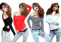 Autumn womem sexy strapless boat neck long sleeve T-shirt fashion slim off the shoulder tops for women camisetas de marca