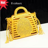 2014 Vintage Celebrity Women Hollow Out Composite Bags Rivet Print Shoulder Tote Handbag With Tassel A1485