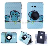 360 Rotating Cartoon Handlebar Beard Sleeping Owl TPU Package Edge Flip Stand TabletPC Case For Samsung GALAXY Tab 3 Lite T110