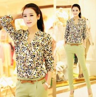 Big yards long sleeve V-neck chiffon shirt female peach heart flower shirt free shipping