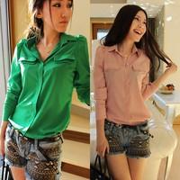 Free Shipping Women Blouse New 2014 Spring Autumn Korean Fashion Casual Green/Pink Long Sleeve Shirt Hot Sale