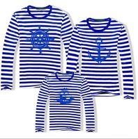 Free shipping autumn spring child women's men's 3pcs family sets long sleeve cotton t shirt Parent-child outfit