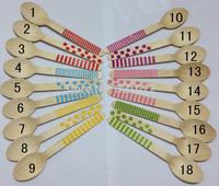 100pcs Disposable Wood Spoon, Chevron/polka Dot/Striped pattern wooden cutlery Wood Dessert spoons