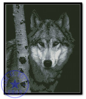 Top Quality popular 100% precision print on canvas cross stitch kit The Watcher Guardian Wolf In The Birch Trees