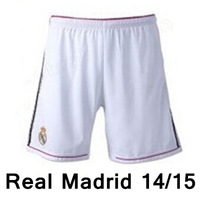 New arrival 14/15 Real Madrid home white shorts Soccer Shorts,2015 best quality Football Shorts