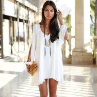 2014 New  Summe Womens Celebrity Midi Dress, Ladies White A-line Sexy  Short Chiffon Dresses  Plus size  4 Colors  963