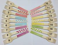 100pcs Chevron/polka Dot/Striped pattern wooden forks Eco-friendly disposable tableware forks wooden cutlery Wood Dessert fork