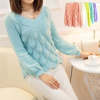 New Winter Korean Fish-Scale Pattern Mohair Pullover Women Sweater Cardigan Pulover Feminino