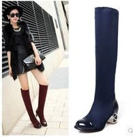 The new women high boots black slim and thin leg over boots fashion boots elastic cloth coarse high-heeled boots size 34-43 B071