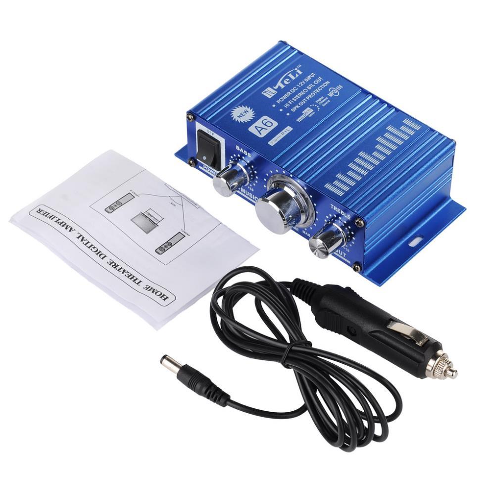 Car Mini Hifi Audio Stereo Speaker Amplifier AMP + AC/DC Powered Adapters(China (Mainland))