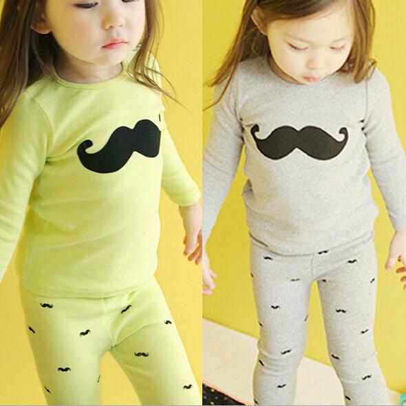 Free shipping 5sets /lot New Fashion Mustache Print Long Sleeve Children Sleepwear Set Girls Pajamas Kids Pyjamas Green Gray(China (Mainland))