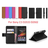 Free Shipping for Sony C3 D2533 D2502 Luxury Wallet Leather Case With Credit Card Holder Mobile Phone Cases + Touch Stylus