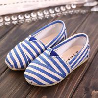 2014 children shoes male female single shoes child autumn fashion stripe soft sole child canvas shoes single shoes